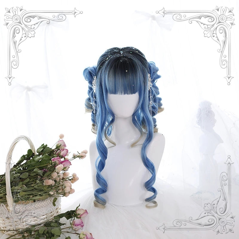 """LOLITA GRADIENT BLUE CURLY"" WIG Y021633"