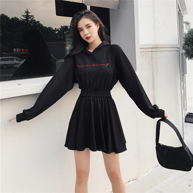 """LOVE IS A LOSING GAME"" DARK ROSE HOODED DRESS K111902"