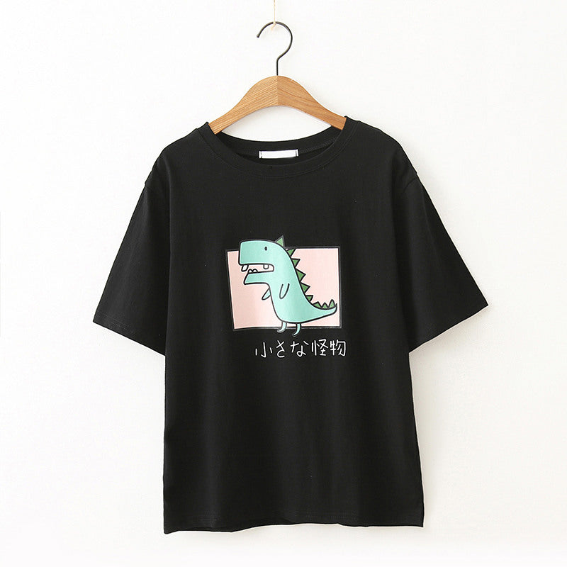 """CARTOON DINOSAUR"" LOOSE TEE T-SHIRT K061703"