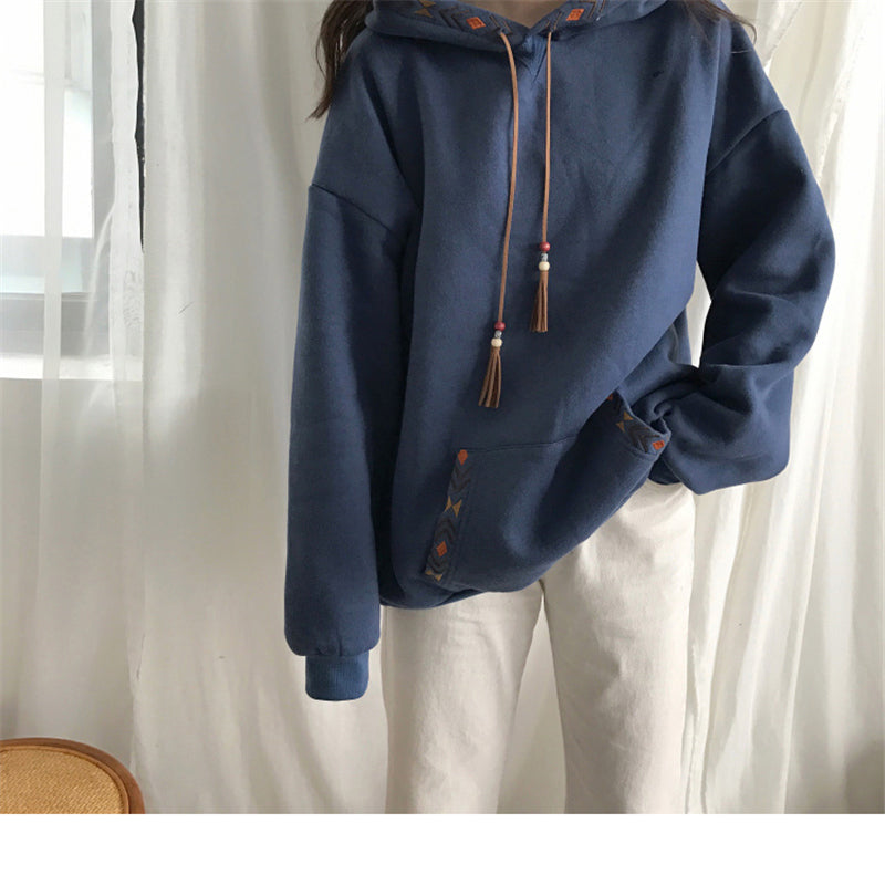 """APRICOT/BLUE LAZY THICKEN"" HOODIE K112228"