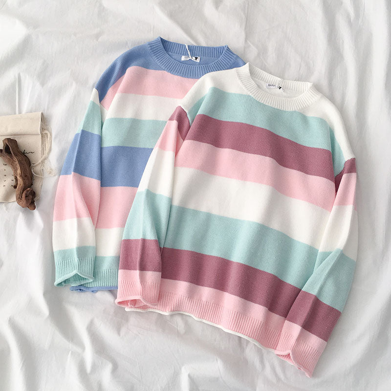 """LAZY PASTEL WIDE STRIPE"" SWEATER K112220"