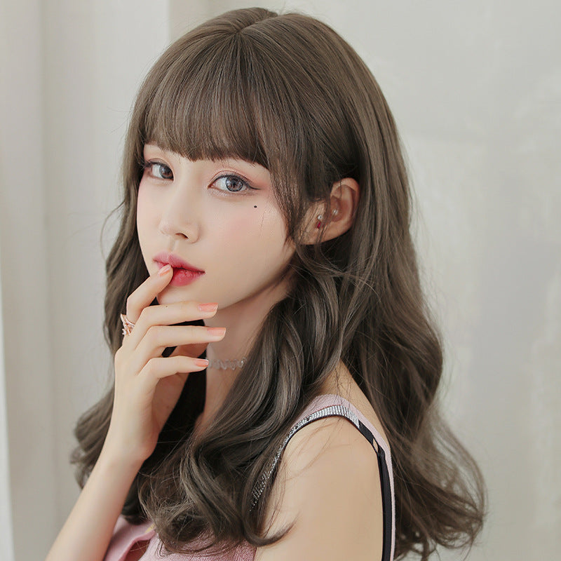 """AIR BANGS BROWN FLUFFY LONG CURLY"" WIG H041910"