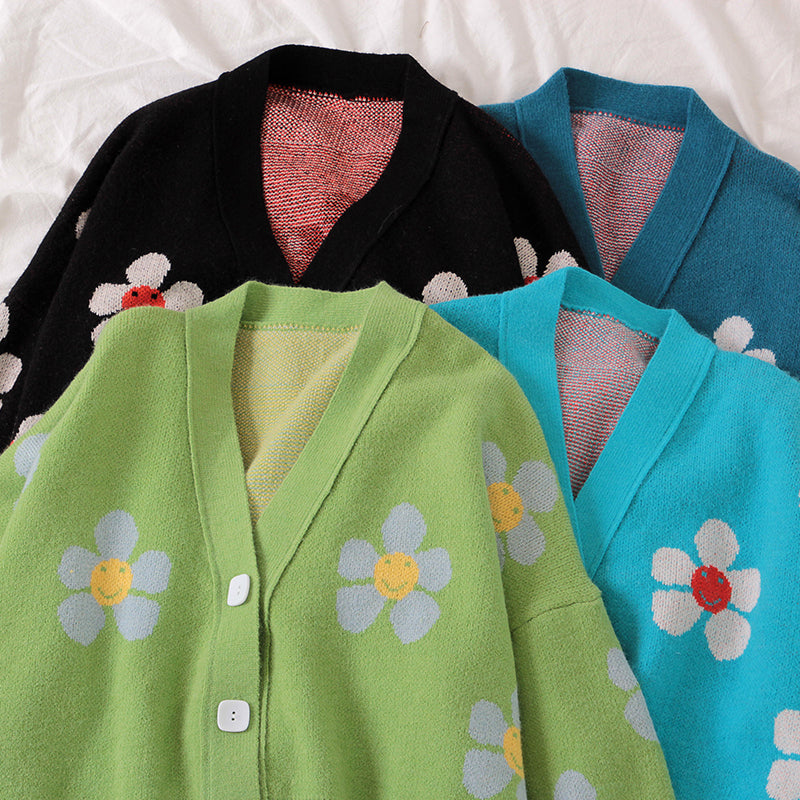 """FLOWER KNITTED"" SWEATER CARDIGAN Y032403"