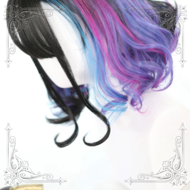 """PSYCHEDELIC COLORS-BLACK PURPLE BLUE"" CURLY SHORT WIG Y020814"