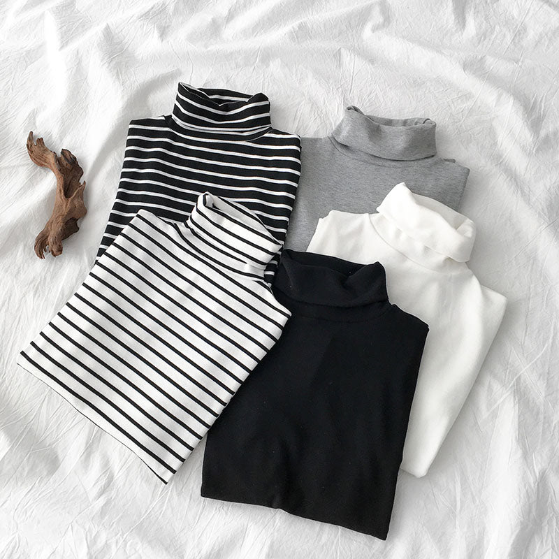 """BLACK/WHITE/GRAY STRIPED"" LONG-SLEEVED TOP K112215"