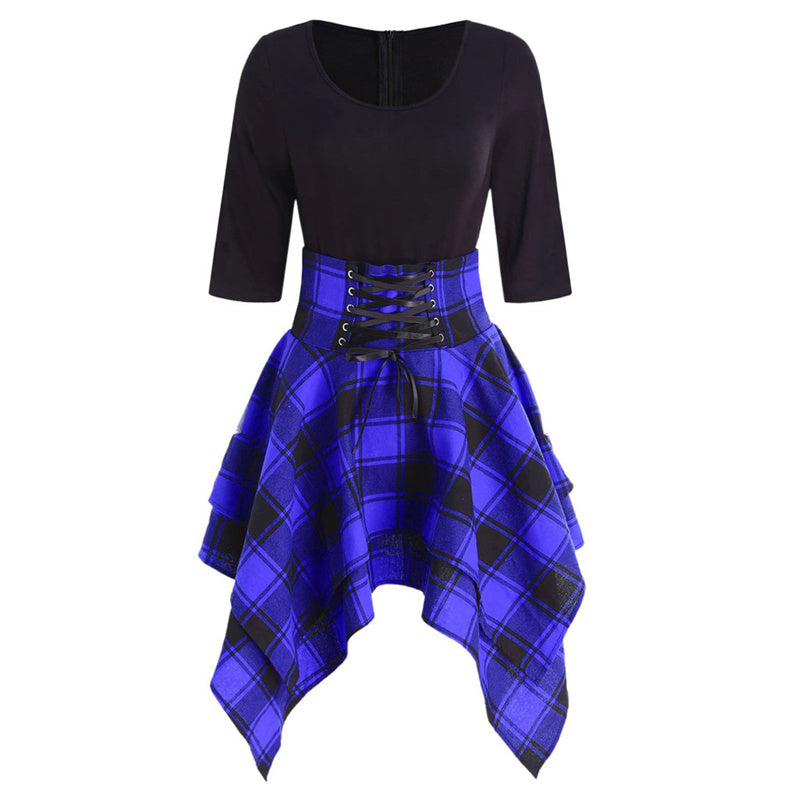 """GOTHIC PLAID HALF SLEEVES IRREGULAR"" DRESS K082107"