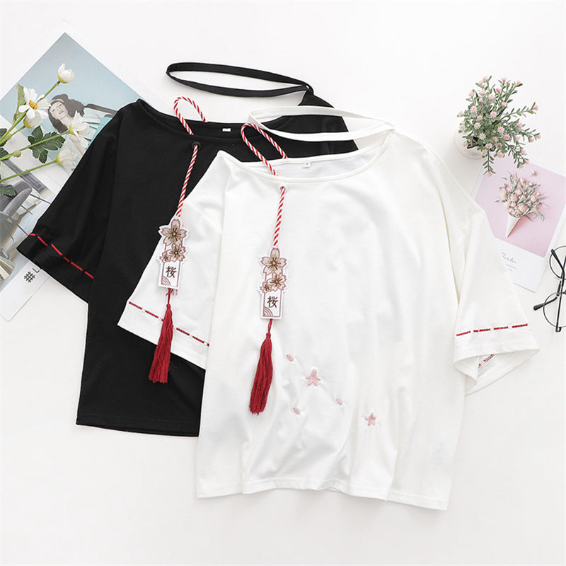 """CHERRY BLOSSOM EMBROIDERED"" TOP + PLEATED SKIRT SET K092512"