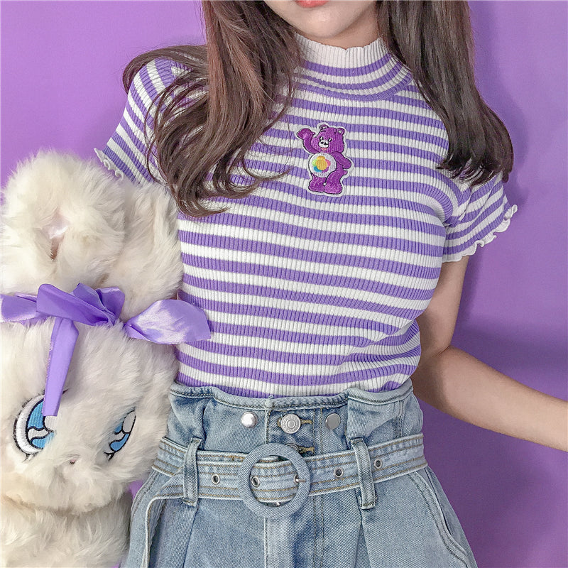 """CUTE EMBROIDERED STRIPED STRETCH-KNIT"" SHORT SLEEVE Y032503"