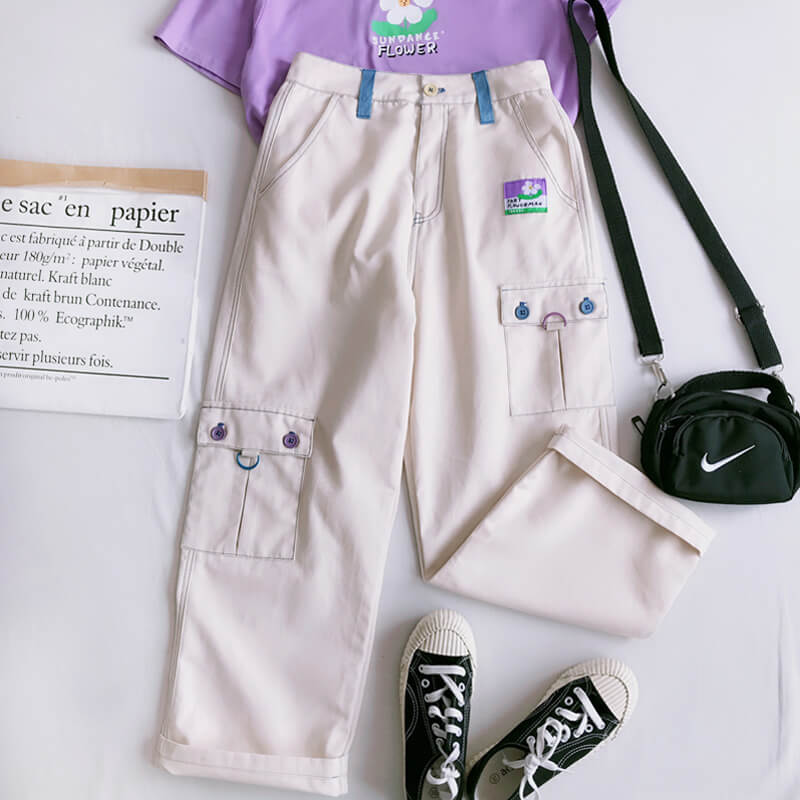 """POCKET PATCH KAWAII CUTE STRAIGHT PANTS K060106"