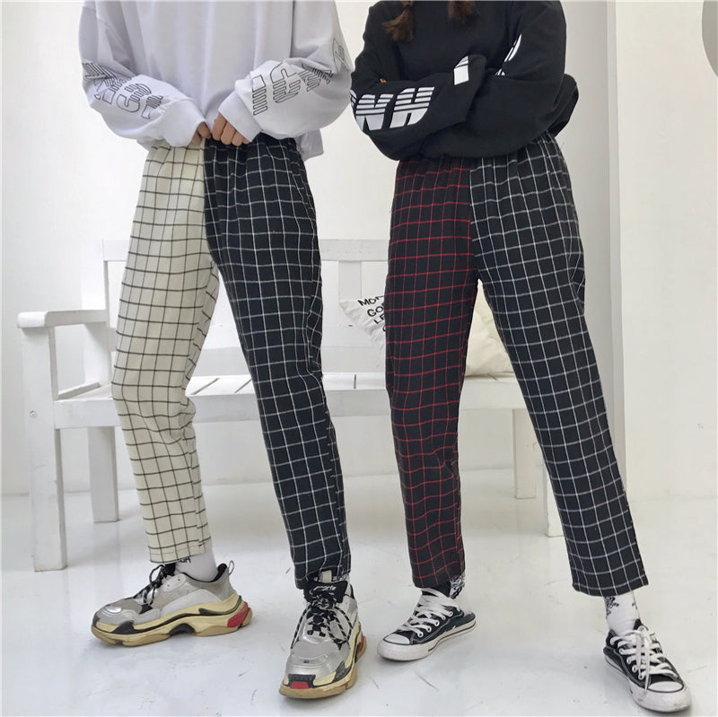 """ULZZANG STITCHING VINTAGE PLAID"" PANTS W042501"