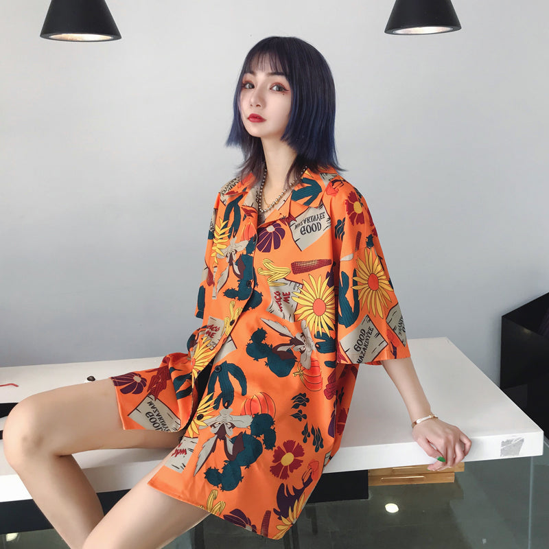 """SUMMER ORANGE FLOWER PRINT"" SHIRT BLOUSE K080803"