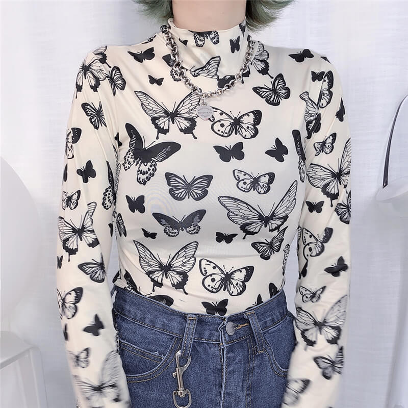 """BUTTERFLY HIGH COLLAR TIGHT"" LONG SLEEVE TOP K060402"