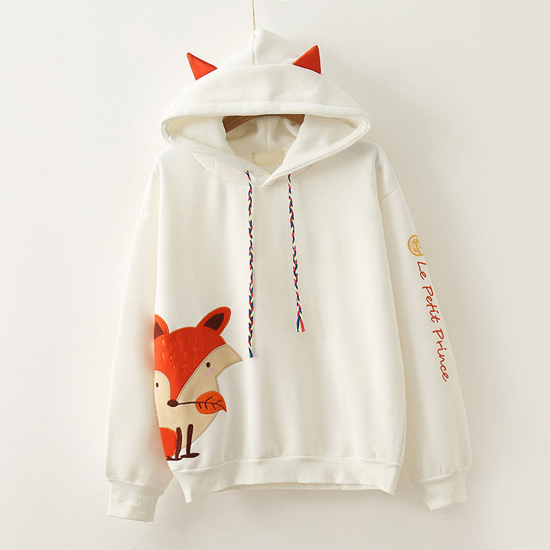 """2 COLORS HARAJUKU  EMBROIDERED FOX"" HOODIE K102707"