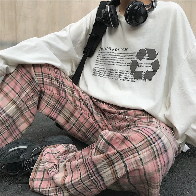 """PINK PLAID"" PANTS K092802"