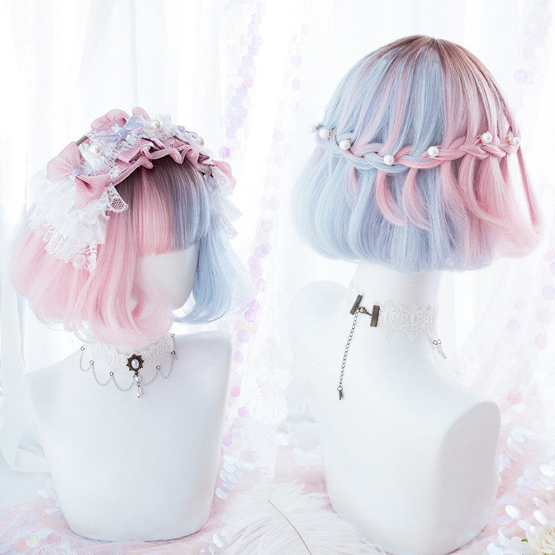 "[@lenusohnepenus] ""GRADIENT BLUE PINK SHORT CURLY"" WIG K102320"