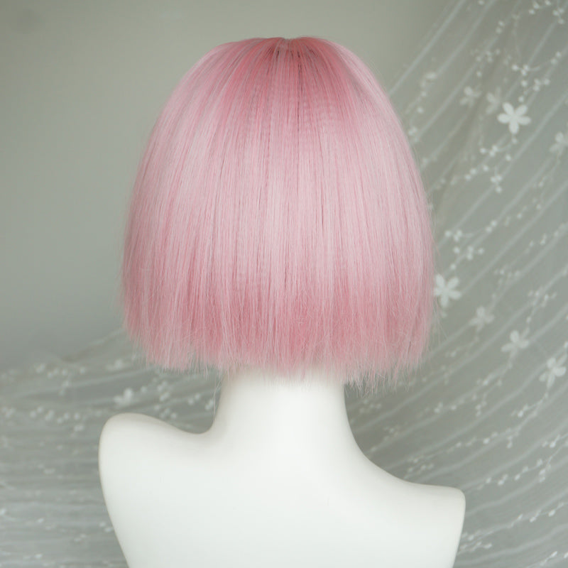 """PEACH PINK SHORT STRAIGHT"" WIG Y040319"
