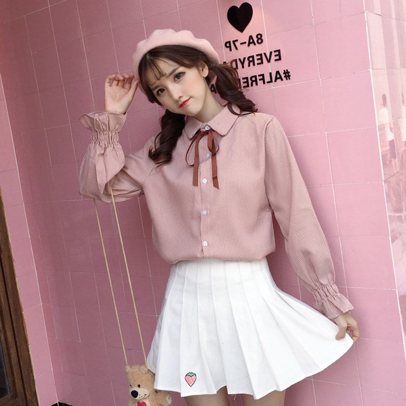 """BOW-TIED"" LONG SLEEVE SHIRT K042602"