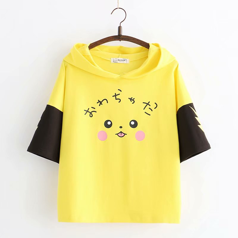 """PIKACHU HOODED"" SHORT-SLEEVED T-SHIRT K072904"