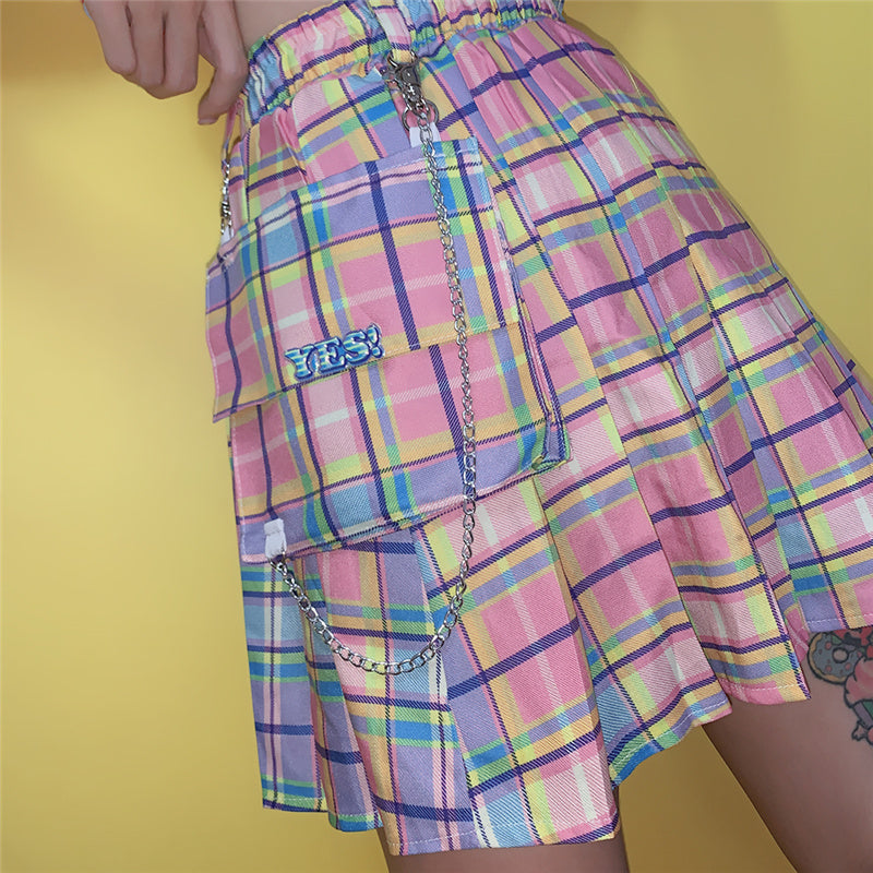 """YES"" SWEET PINK PLAID SKIRT K081809"
