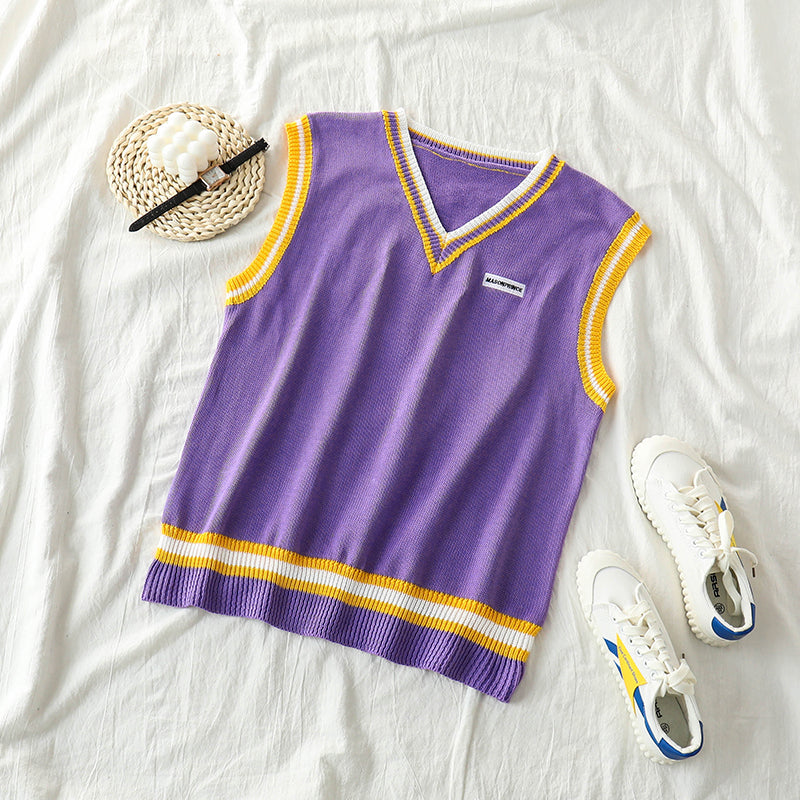 """PURPLE / BLUE V-NECK"" KNIT VEST K090804"