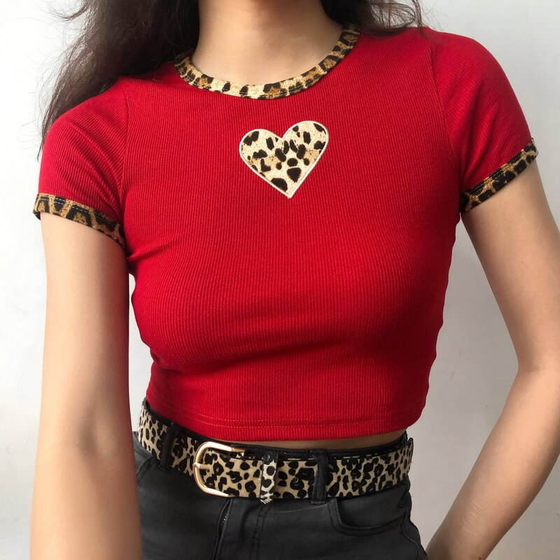 """LEOPARD LOVE"" SHORT T-SHIRT K060111"