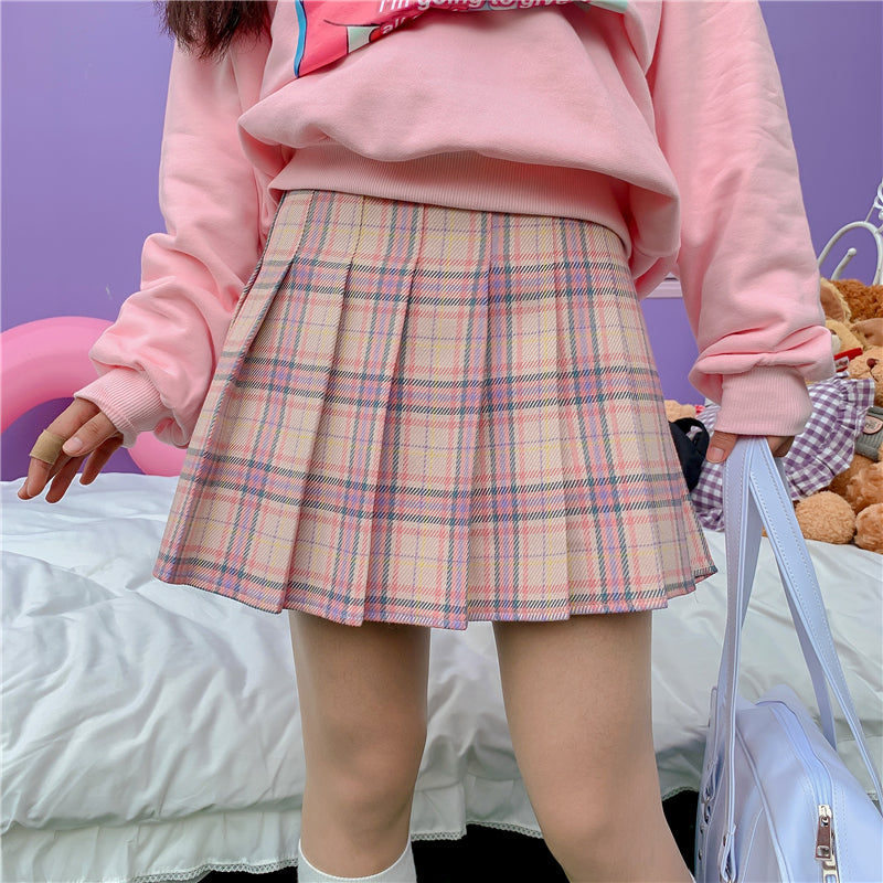 """KAWAII PINK PLAID"" PLEATED SKIRT K111807"