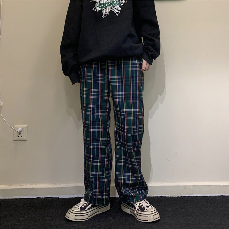 """APRICOT/NAVY PLAID CASUAL"" PANTS Y031102"