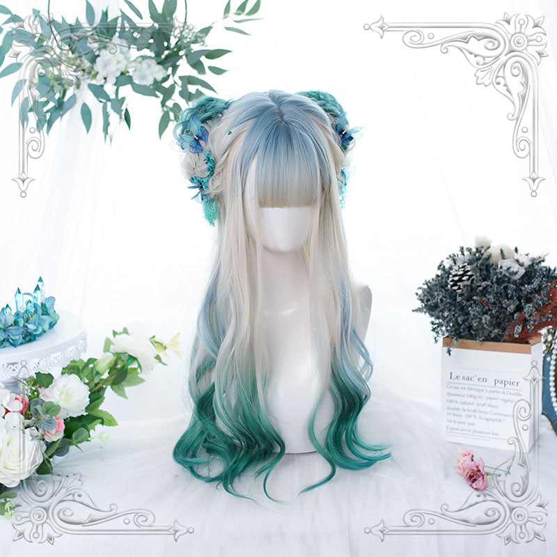 """GRADIENT GREEN LONG CURLY HAIR"" WIG H081903"