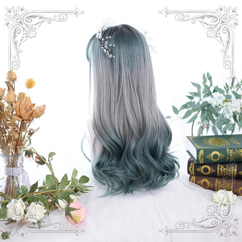 """LOLITA GRADIENT GRAY GREEN"" LONG CURLY WIG Y021614"
