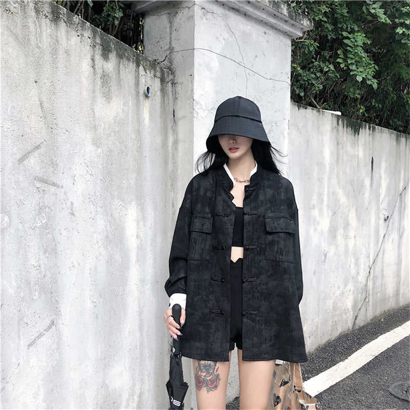 """DARK BLACK RETRO"" SHIRT AUTUMN JACKET K111008"