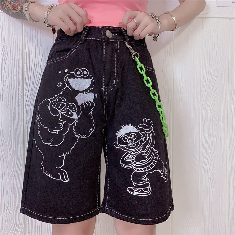 "[@sorry.wrongera] ""CARTOON"" LOOSE WIDE LEG SHORTS K062903REVIEW"