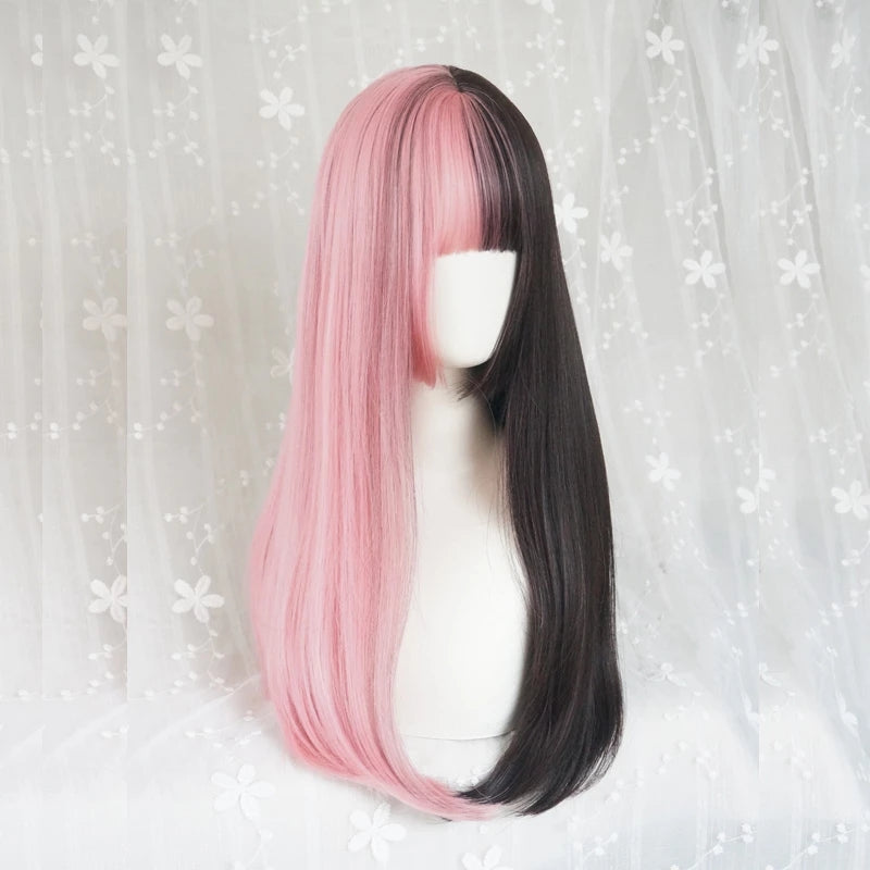 "[@ruiiika._.x] ""HALF BLACK HALF PINK LONG STRAIGHT"" WIG K071713REVIEW"
