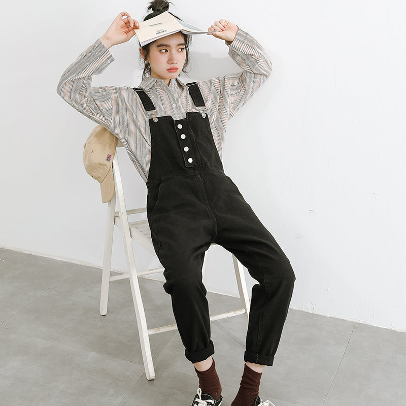 """CHIC BLACK STRAIGHT DENIM"" SUSPENDER TROUSERS K122804"