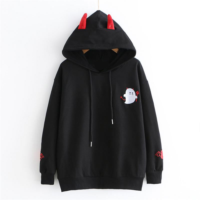 """CUTE EMBROIDERED LITTLE DEVIL"" LONG SLEEVE HOODIE K102203"