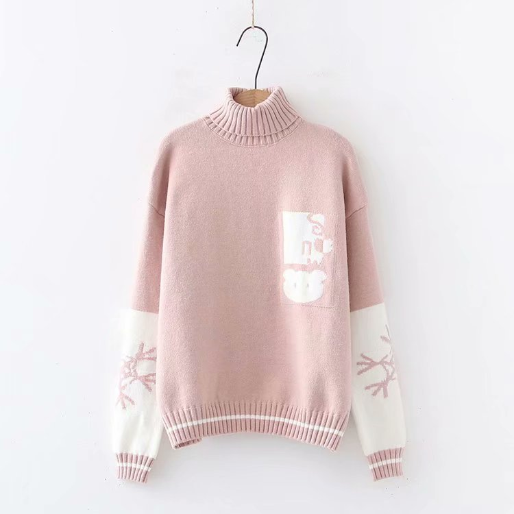 """CUTE CARTOON RABBIT SNOWFLAKE"" TURTLENECK PULLOVER K102005"