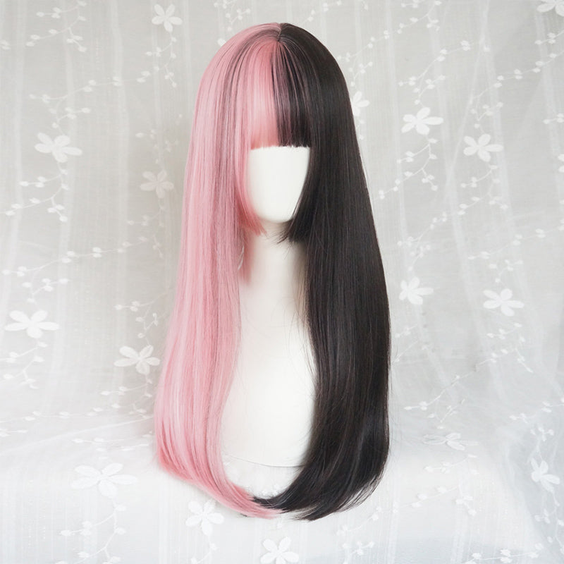 """HALF BLACK HALF PINK LONG STRAIGHT"" WIG K071713"