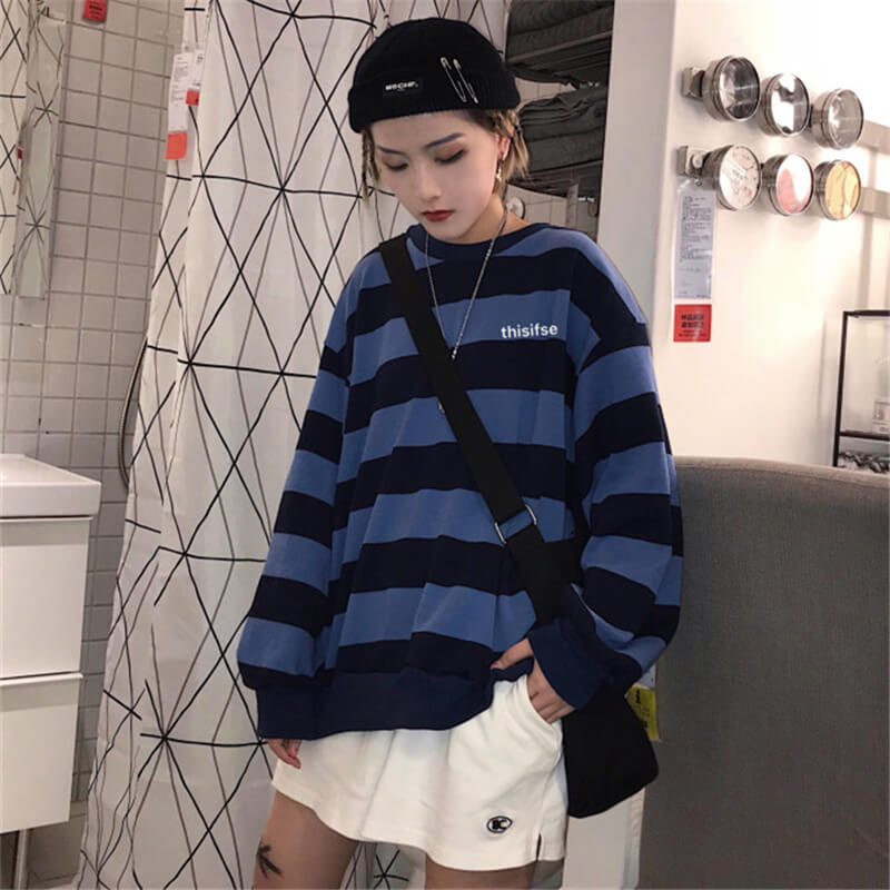 """STRIPED"" LONG-SLEEVED T-SHIRT K060602"