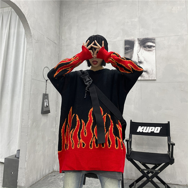 """HARAJUKU FLAME"" PULLOVER SWEATER K111311"