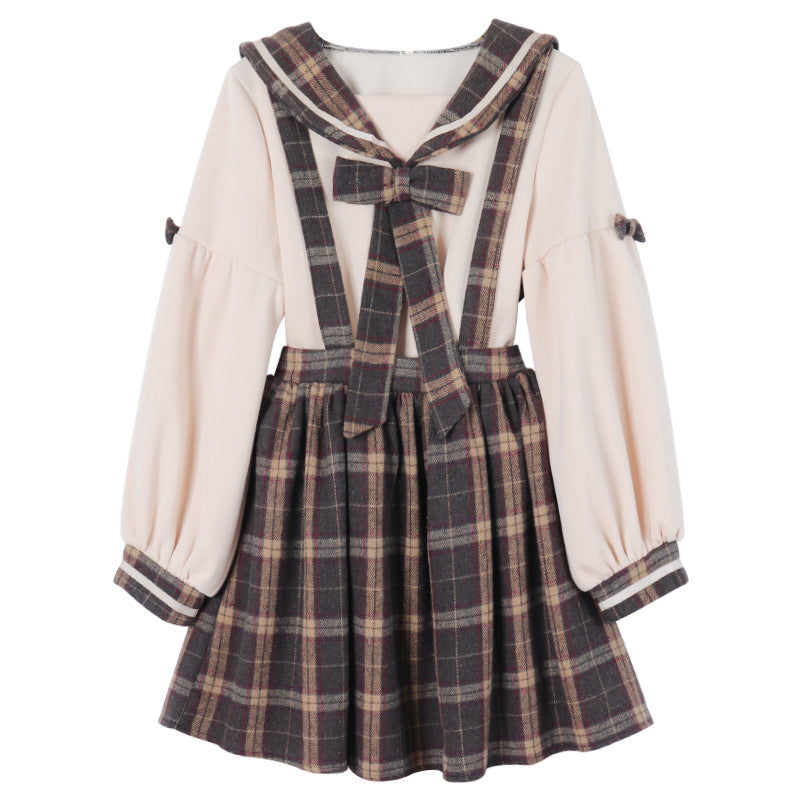"""PLAID BOW COLLAR"" SHIRT / SUSPENDER SKIRT K092409"