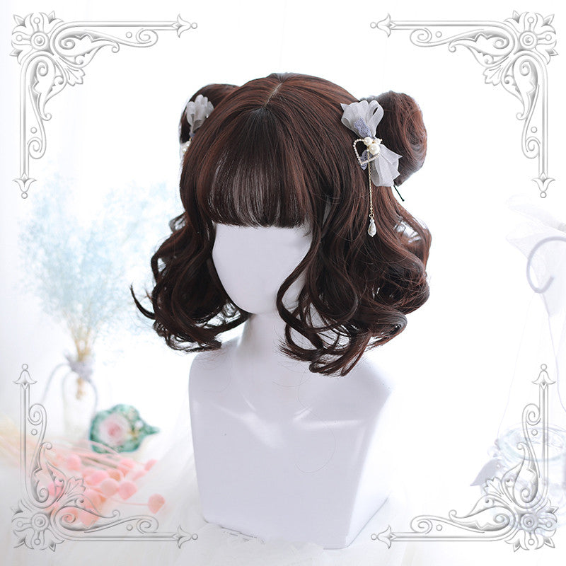 """Lolita air bangs short curly"" wig / cute hair balls Y020810"