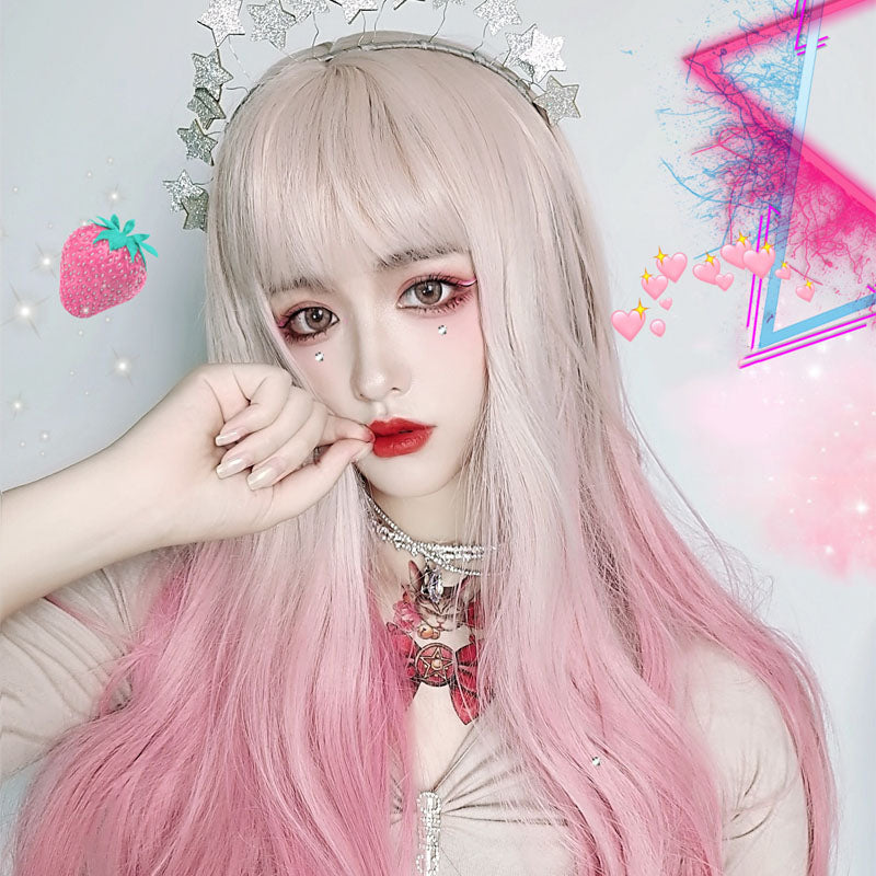 """ Gradient pink long straight hair ""WIG H082012"