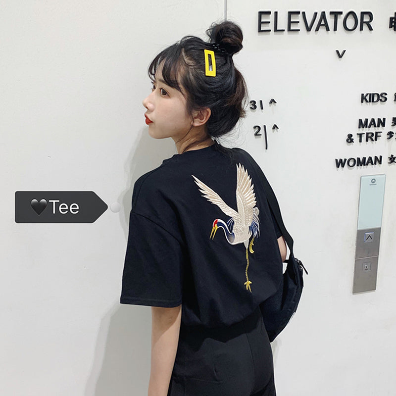 """FAIRY CRANE EMBROIDERY"" T-SHIRT D052917"