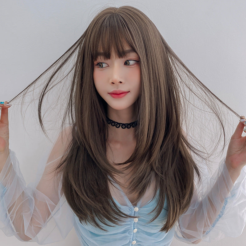 """AIR BANGS INNER BUCKLE LONG STRAIGHT"" WIG  H041904"