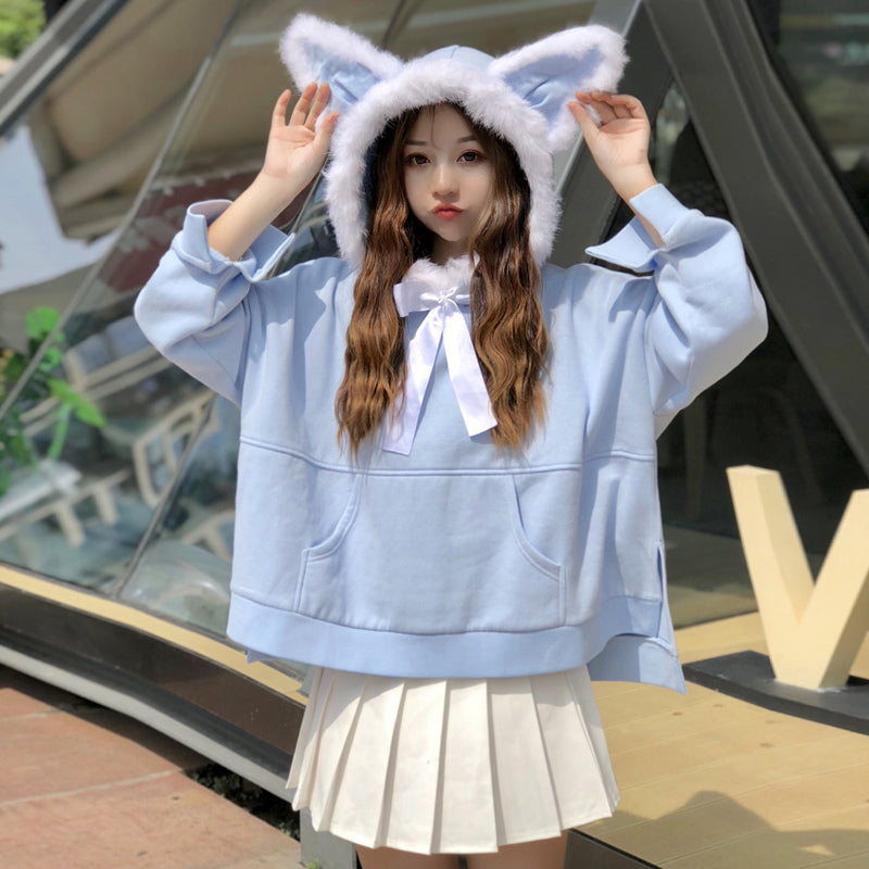 """CUTE FUR COLLAR RABBIT EARS HOODED LACE"" COAT K111906"