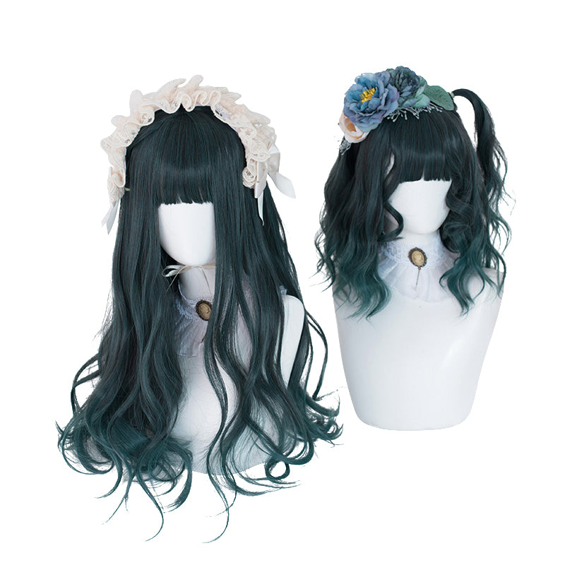 """DARK GREEN GRADIENT CURLY"" LONG WIG D041509"