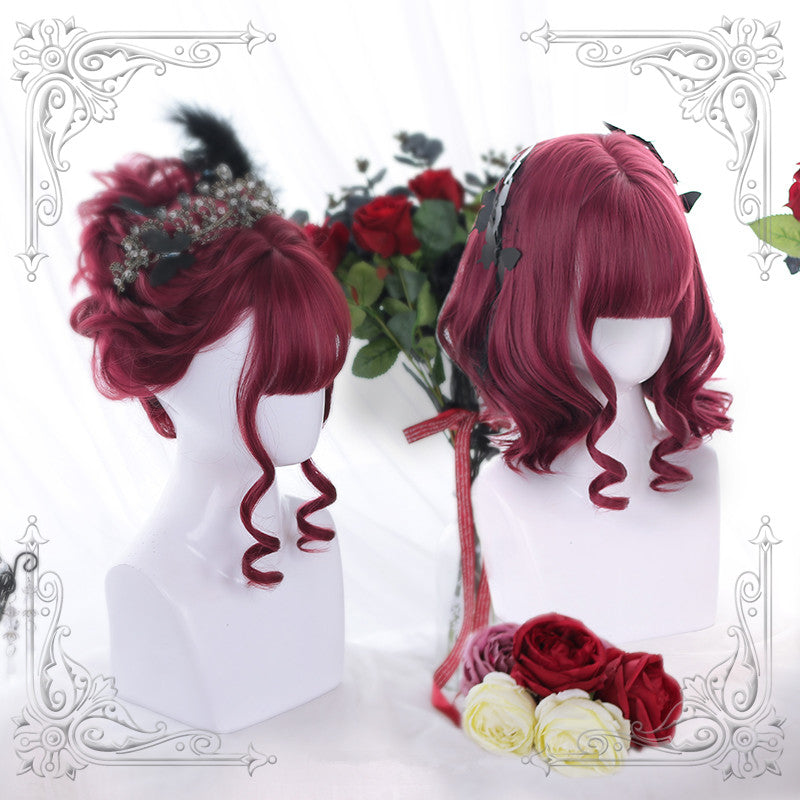 """RED CUTE SHORT CURLY"" WIG Y021624"
