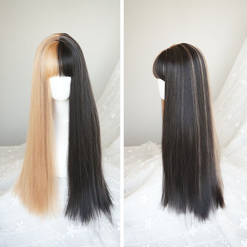 """HALF BLACK HALF YELLOW"" LONG WIG K082206"
