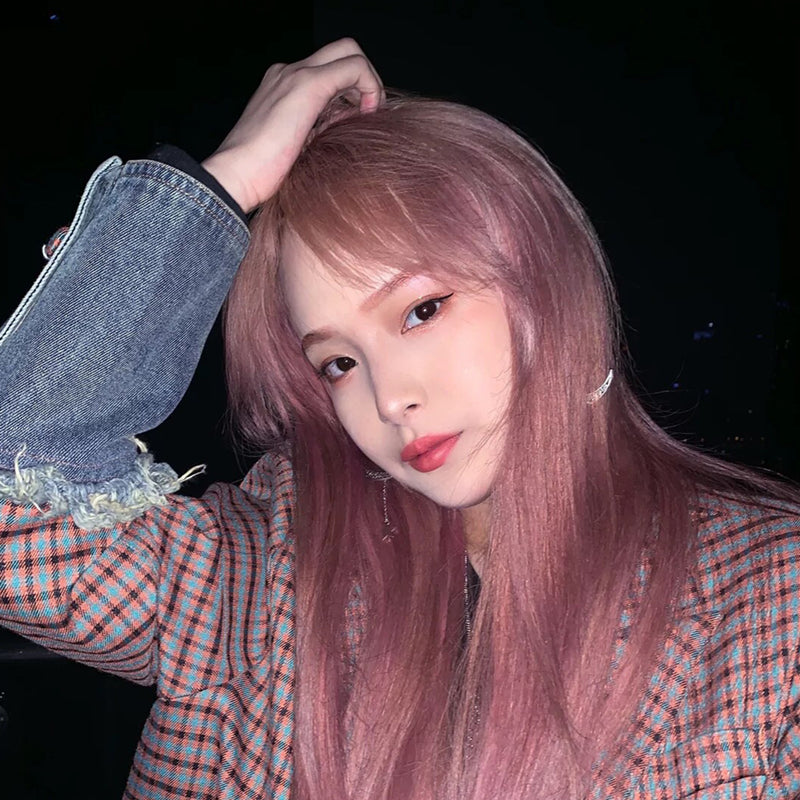 """ LONG STRAIGHT PINK HAIR ""WIG H082103"