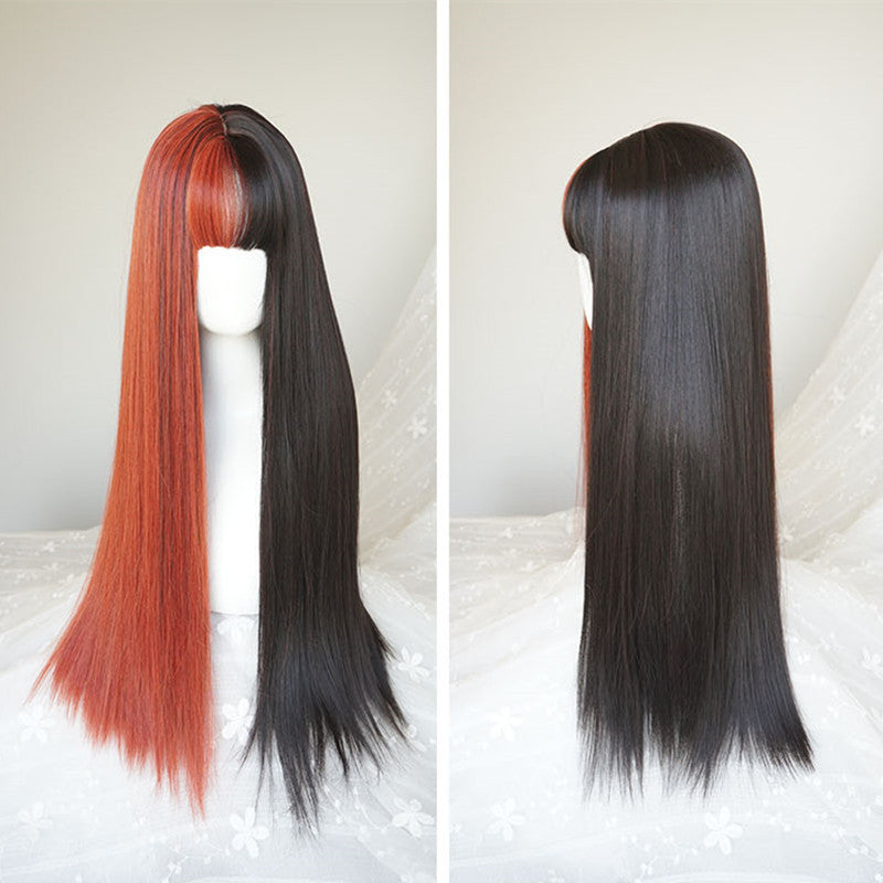 """HALF BLACK HALF WHITE / ORANGE"" LONG STRAIGHT WIG K082207"