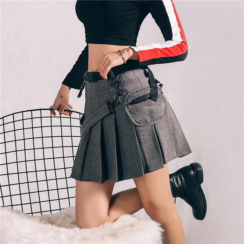 "[@resauvi] ""RETRO POCKET"" PLEATED SKIRT K022601REVIEW"